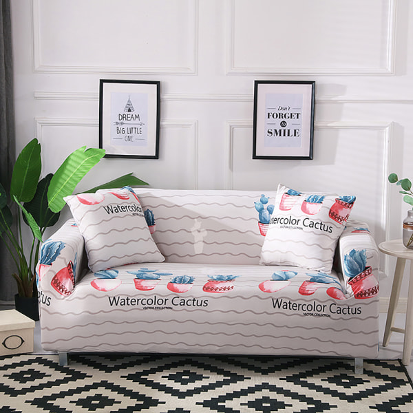 1/2/3/4 Seater Stretch Sofa Cover Lounge Slipcover Protector Cactus,2 Seater