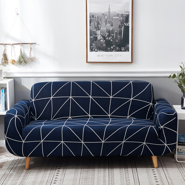 1/2/3/4 Seater Stretch Sofa Covers Elastic Slipcover Protector Dark Blue,2 Seater