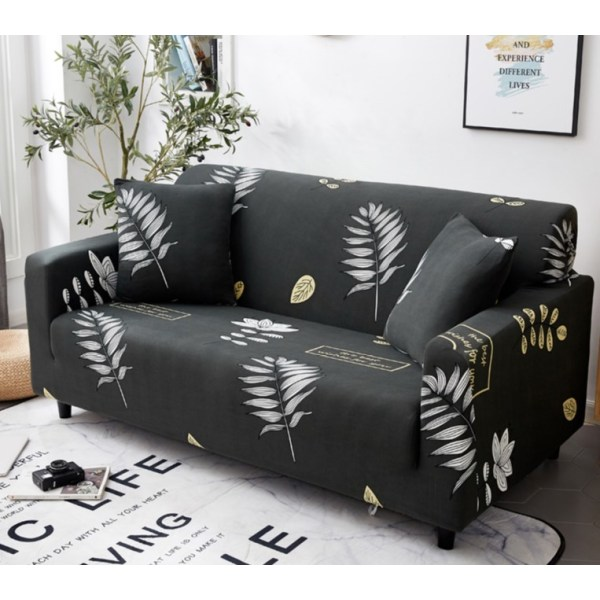 1-4 Seat Stretch Printed Sofa Cover Elastic Slipcover Protector Palm leaves,3 Seater