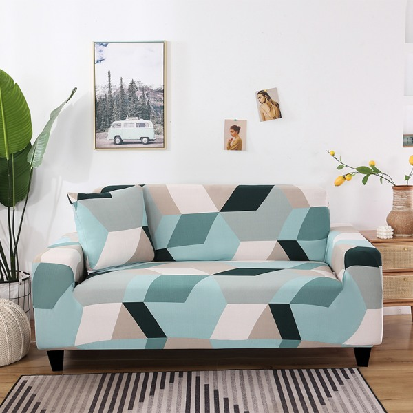 1-4 Seater Stretch Elastic Sofa Cover Armchair Couch Slipcovers Geometric Green#1,2 Seater