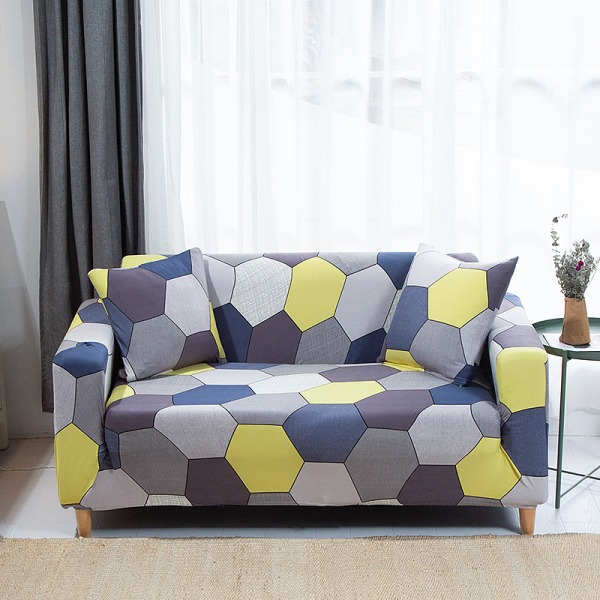 1-4 Seater Stretch Elastic Sofa Cover Armchair Couch Slipcovers Honeycomb Blue#8,4 Seater