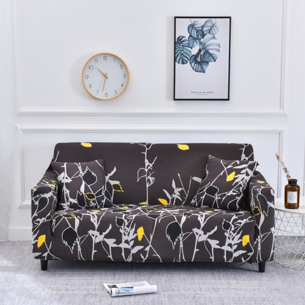 1-4 Seater Stretch Elastic Sofa Cover Armchair Couch Slipcovers Leaves Coffee#2,3 Seater
