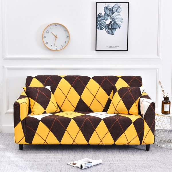 1-4 Seater Stretch Elastic Sofa Cover Armchair Couch Slipcovers Rhombic Yellow#3,3 Seater
