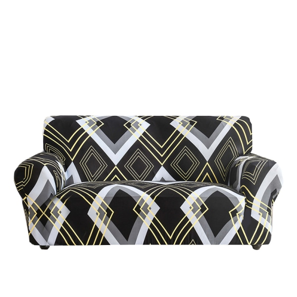 1-4 Seater Stretch Elastic Sofa Cover Armchair Couch Slipcovers Rhombus Black#9,1 Seater