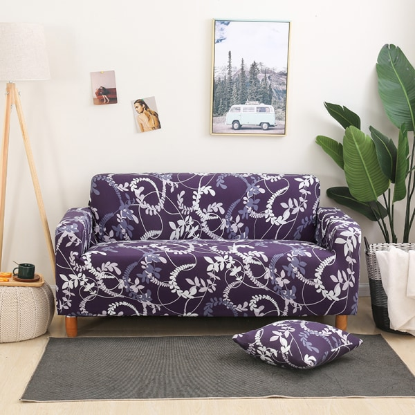 1-4 Seater Stretch Elastic Sofa Cover Armchair Couch Slipcovers Vine Purple#4,4 Seater