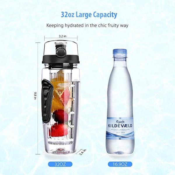 1000 ml / 32 oz vattenflaska fruktinfusionsprotein resesport Pink