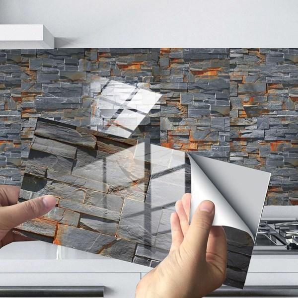 12/24/48 Pcs Tile Stickers Self-Adhesive Wall Decals Waterproof Dark Gray Brick,12 pcs
