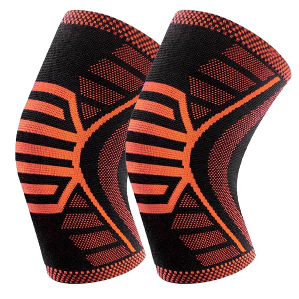 2 x Knee Compression Sleeve Brace Support For Gym orange,XL