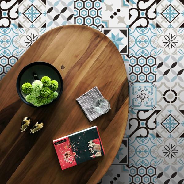 20Pcs Retro Tile Stickers Self Adhesive Home Decor Waterproof Light Blue 15x15cm