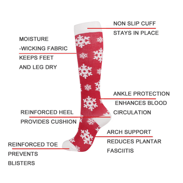 2x Women Men Christmas Compression Socks Medical Nursing Sports Red Snowflake L / XL