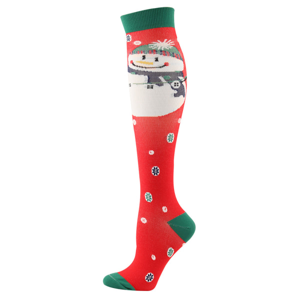 2x Women Men Christmas Compression Socks Medical Nursing Sports Red Snowman S / M