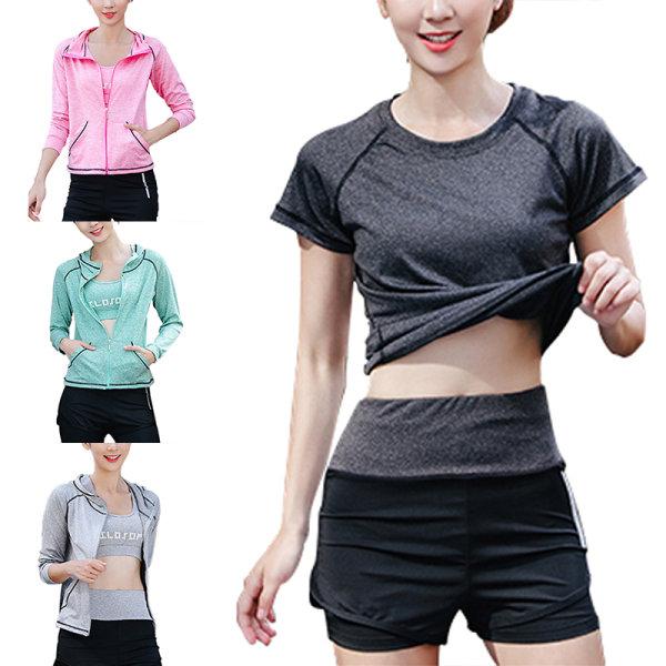5pcs/set women's workout running yoga bra top leggings set Dark gray,S