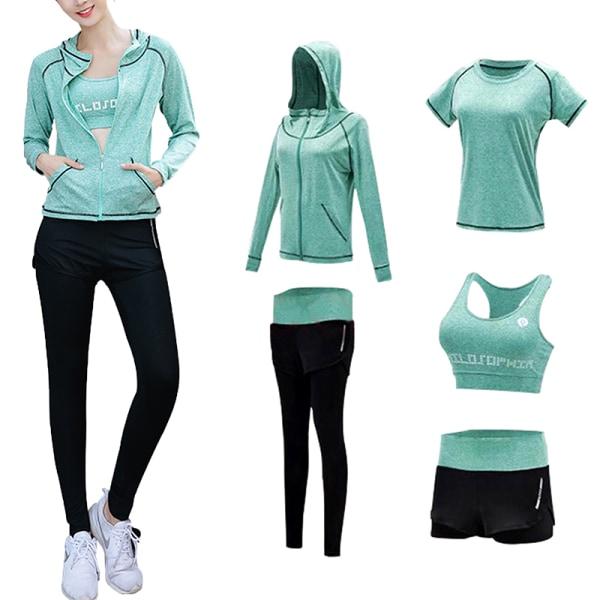 5pcs/set women's workout running yoga bra top leggings set light green,L