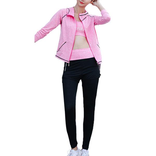5pcs/set women's workout running yoga bra top leggings set light pink,S