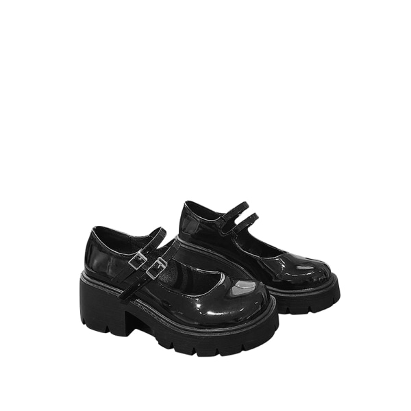 Abtel Women's Mary Jane School Shoes Platform Ankle Buckle Glossy,37