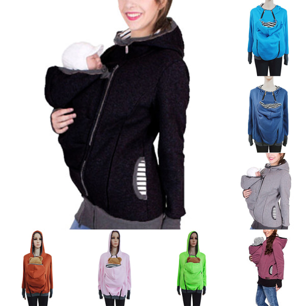 Baby Carrier Ladies Kangaroo Pocket Hoodie Sweater Jacket Color blue,XXL