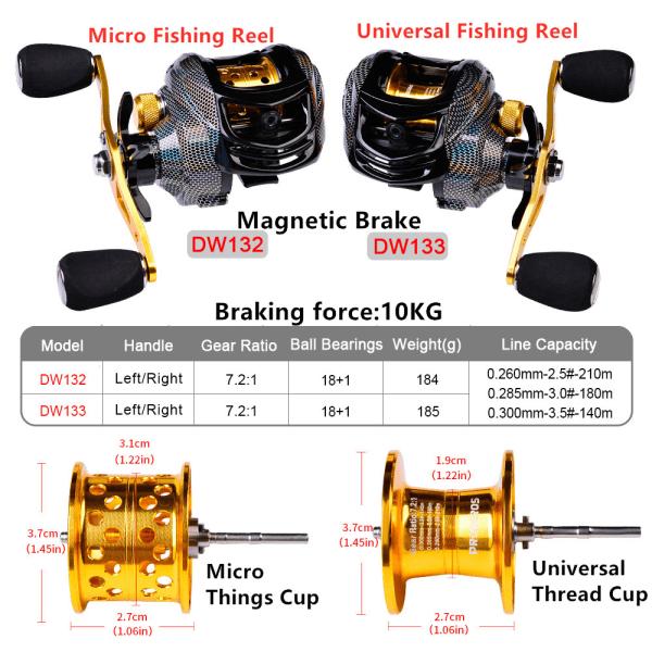 Baitcasting Reel High Speed 7.2:1 Reel  Fishing Reel 18+1BB DW132L,Left Hand
