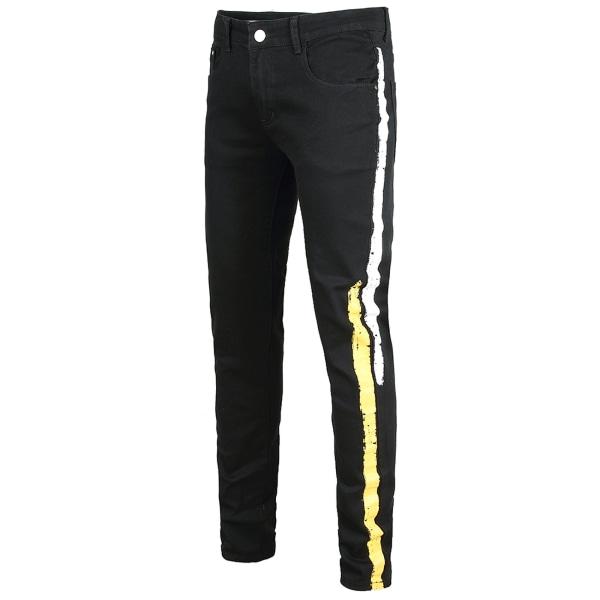 Black Men Jeans Stretch Regular Casual Trousers White Yellow Stripe,40