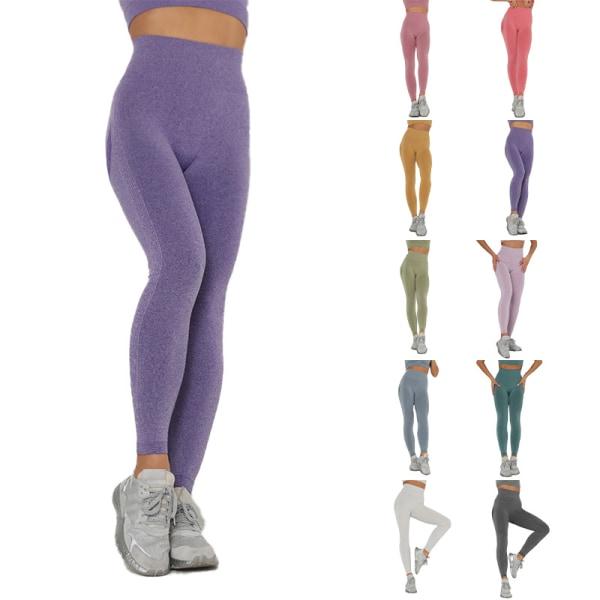 Dam Yoga Leggings Sportbyxor Gymnastikbyxor med hög midja Yellow,L