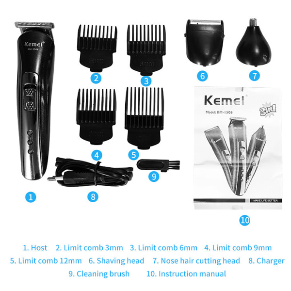 electric clipper rechargeable nose hair clipper razor Black