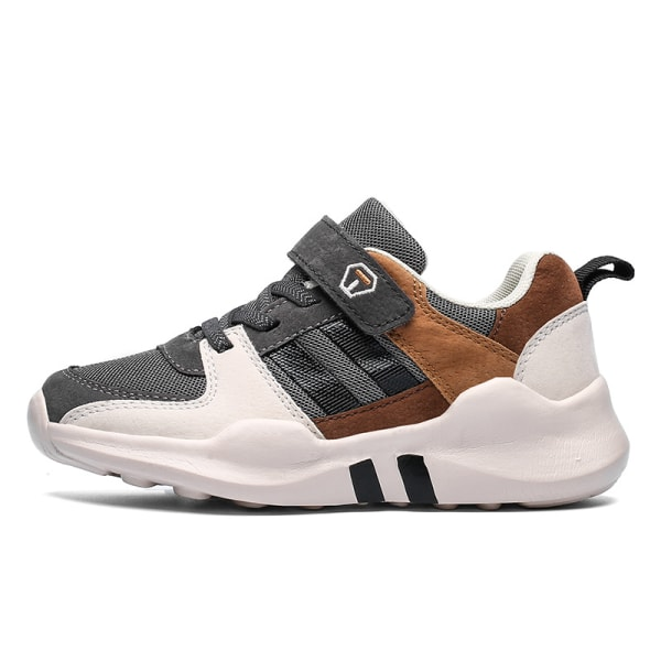 Kids Leisure Sneakers Breathable Magic Tape brown ,28