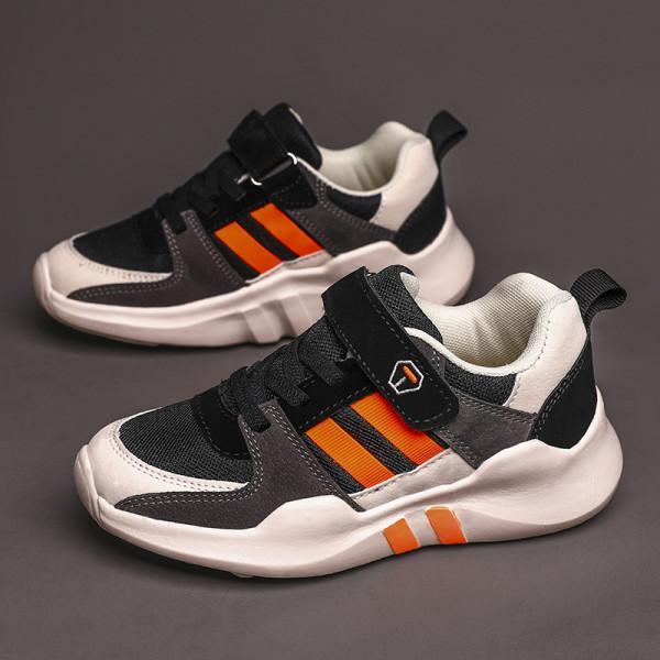 Kids Leisure Sneakers Breathable Magic Tape Orange,34