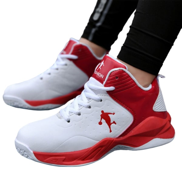 Kids Teens High Top Fashion Sneakers Athletic  Basketball Shoes red,33
