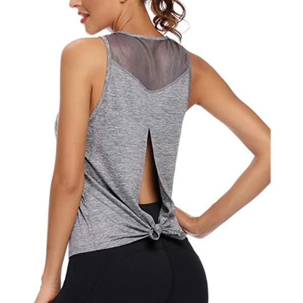 Ladies casual sleeveless mesh stitching yoga vest back slit gray,S
