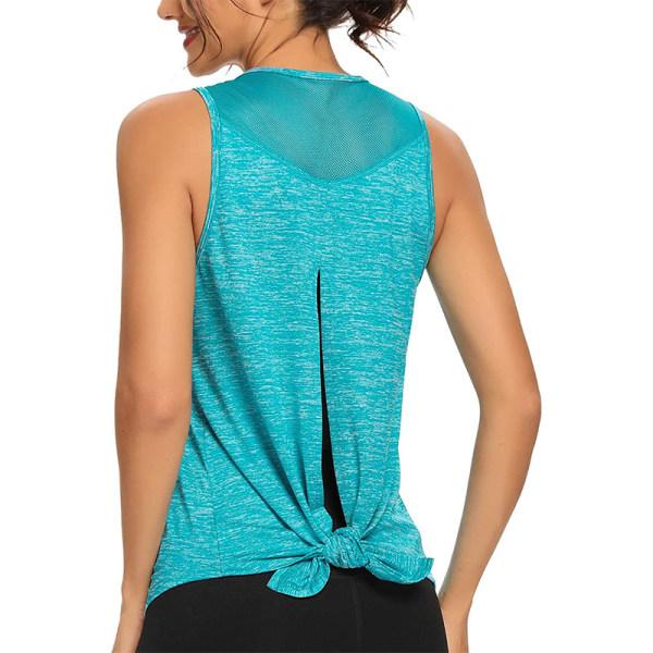 Ladies casual sleeveless mesh stitching yoga vest back slit green,XL