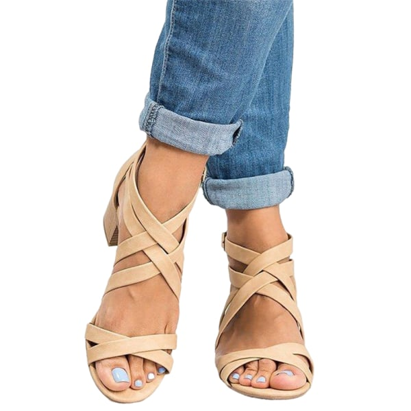 Ladies Fashion High Heels Comfortable Thick Heel Sandals Summer Beige,35