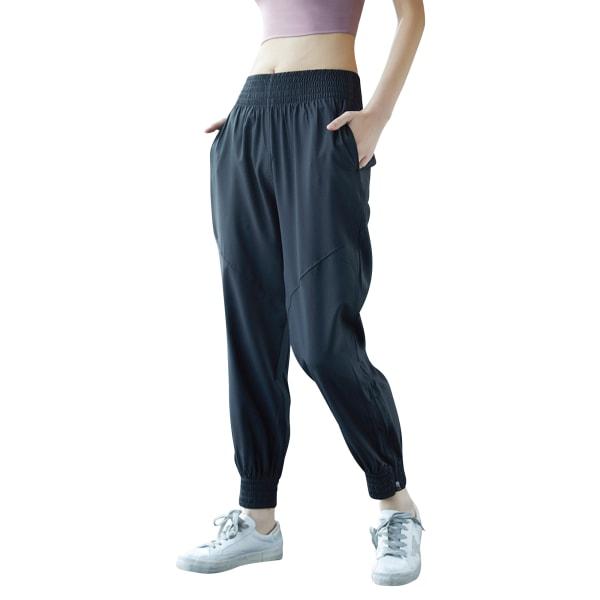 Ladies leisure yoga sports jogging sweatpants Black,M