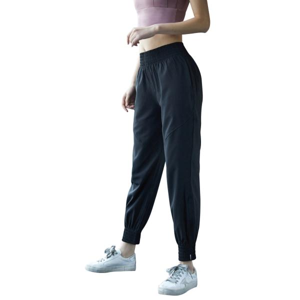 Ladies leisure yoga sports jogging sweatpants Black,S