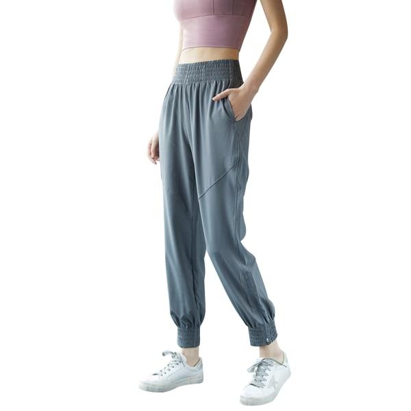 Ladies leisure yoga sports jogging sweatpants Gray,L