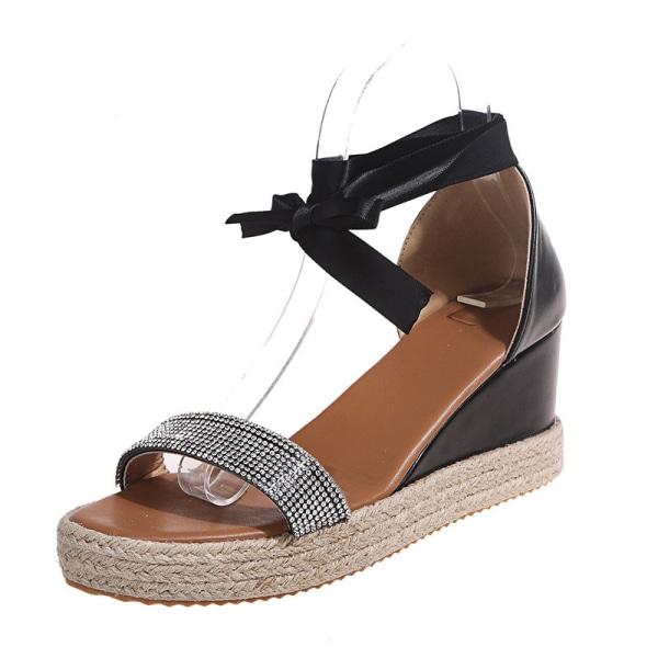 Ladies Open Toe Sandals Fashion Wedge Heel Shoelace Word Band Black,35