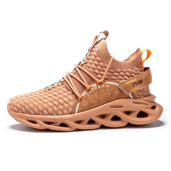 Men Athletic Sneakers Walking Sports Running Trainers Breathable Brown,45