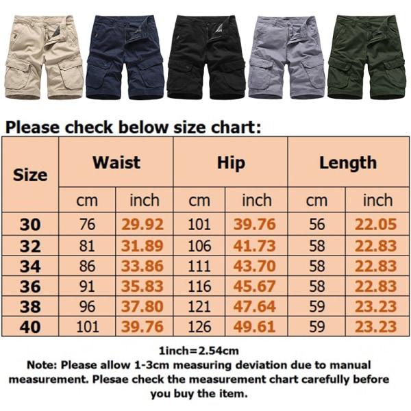 Men Beach Sports Workwear Shorts Multi-Pocket Shorts Summer Khaki,34