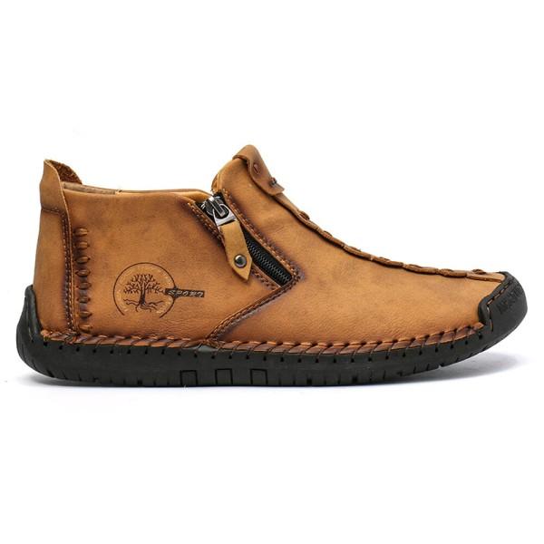 Men casual shoes moccasins mid cut boots zipper black 45 yards Brown,39