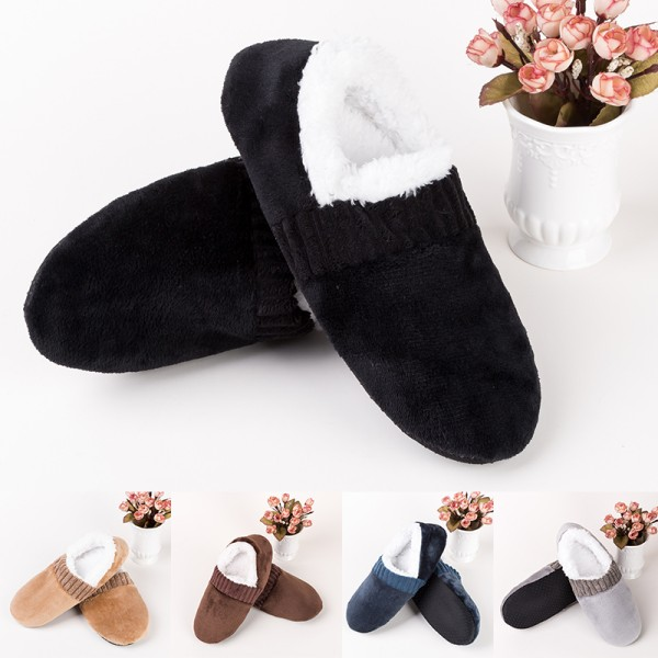 Men Casual Slipper Indoor Plush Warm Home Shoes Anti-Skid Mule Black