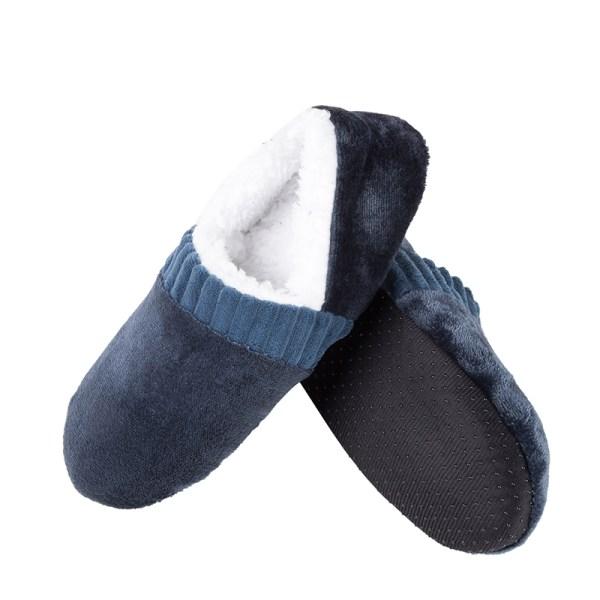 Men Casual Slipper Indoor Plush Warm Home Shoes Anti-Skid Mule Navy Blue