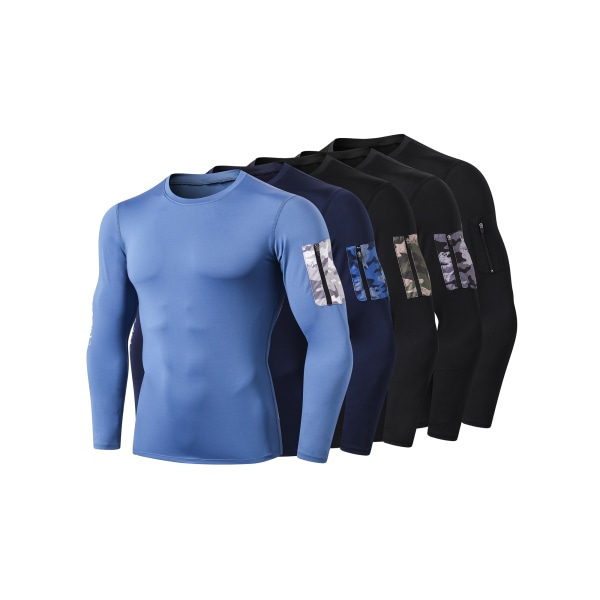 Herr Kompressionslager Långärmade Toppar Sport Gym Running Blue,XL