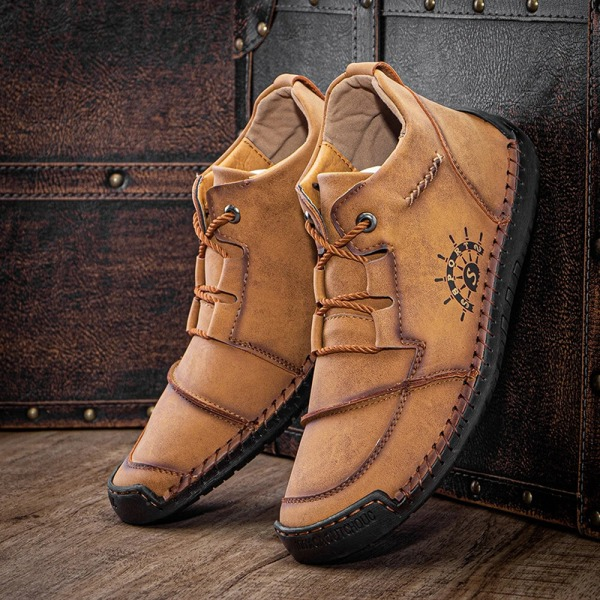 Men leather high top boots breathable moccasin lace ups Yellow,38