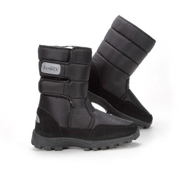 Men Plush Lined Winter Snow Boots Casual Warm Booties Waterproof Black,42