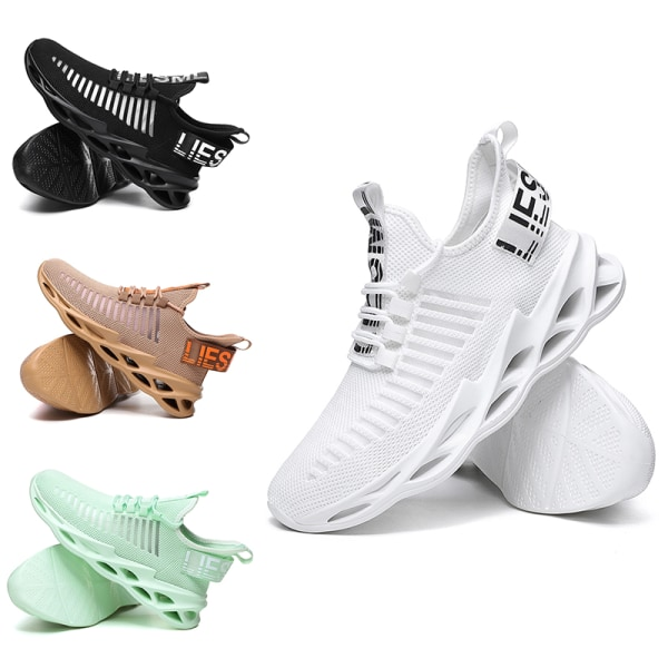 Men's Athletic Sneakers Sports Running Trainers Breathable Shoes White,43
