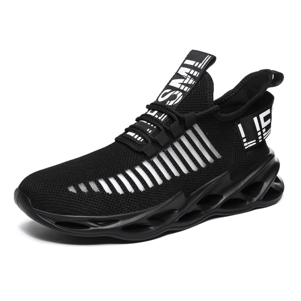 Men's Athletic Sneakers Sports Running Trainers Breathable Shoes Black,45