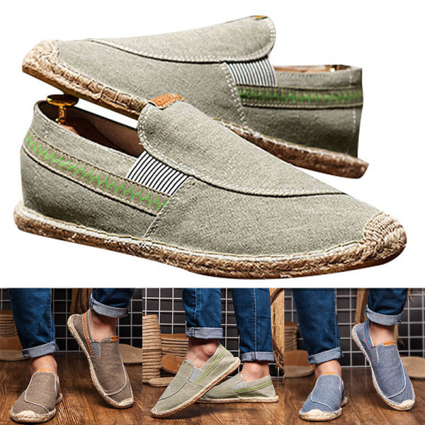 Men's fashion breathable canvas shoes outdoor casual shoes Blue,42
