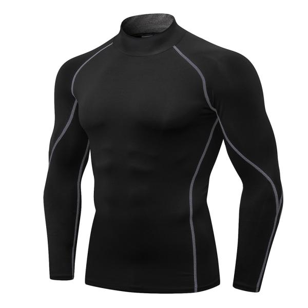 Men's High Collar Compression T-Shirt Bodybuilding Sportswear Black-Gray,M