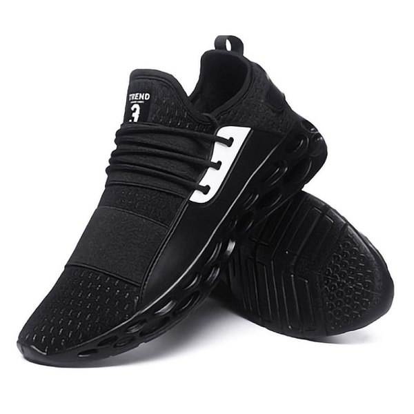 Men's hollow sneakers high-elastic travel shoes casual shoes Black,39
