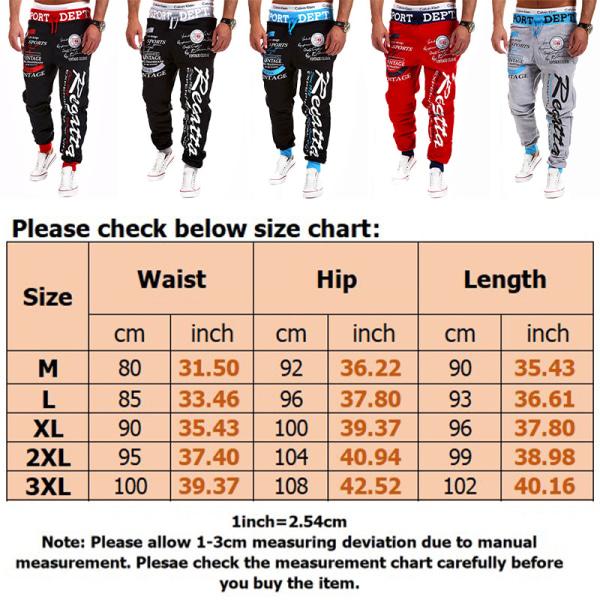 Men's loose sweatpants printed trousers jogging running pants Black-blue waist,3XL