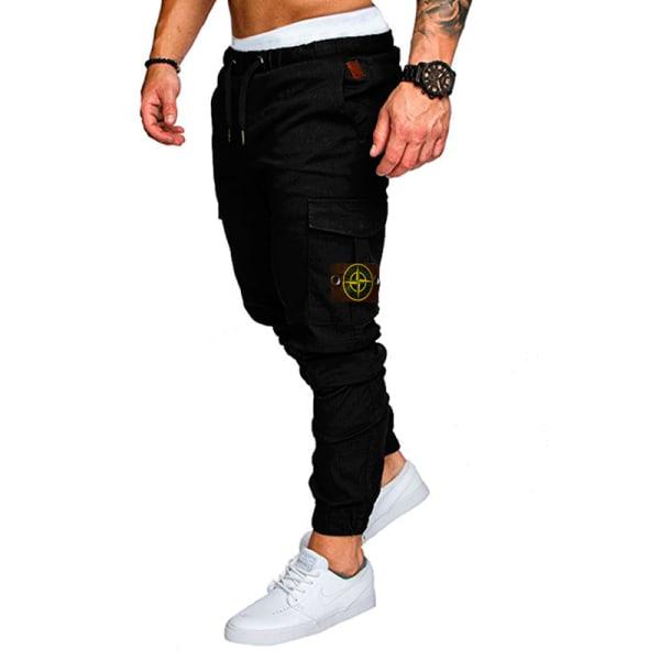 Men's loose sweatpants solid color trousers jogging overalls black,M