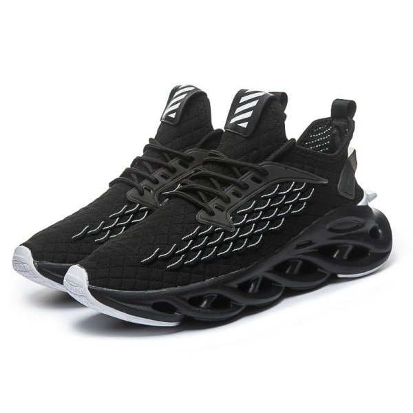 Men's Mesh Athletic Sneakers Sports Running Lace Up Casual Shoes Black,46